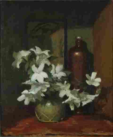 RYDGE, Albert (1903-1971) 'Azaleas' Oil on Board