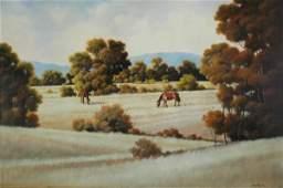 1009: TAYLOR, Michael (b.1950) 'Summer Grazing' Oil on