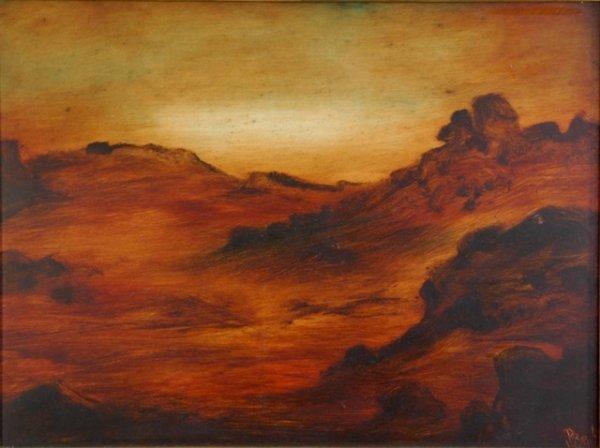 1019: HART, Pro (1928-2006) 'Rocky Landscape, Sunset,'