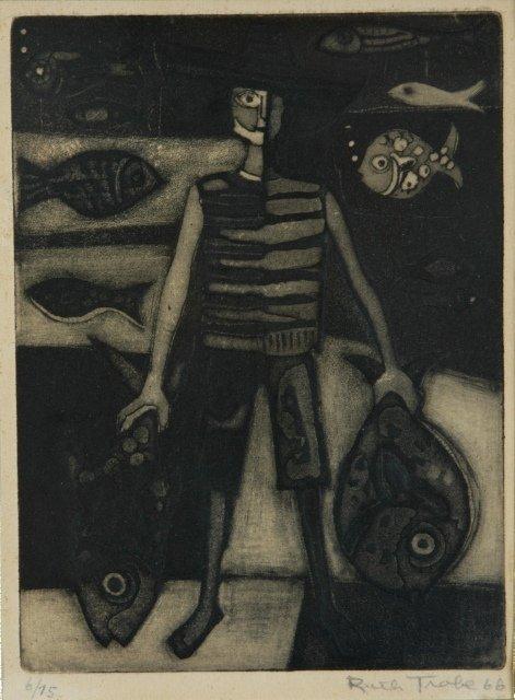 1020: TROBE, Ruth Fisherman, 1966. Etching 6/75 19.5x14