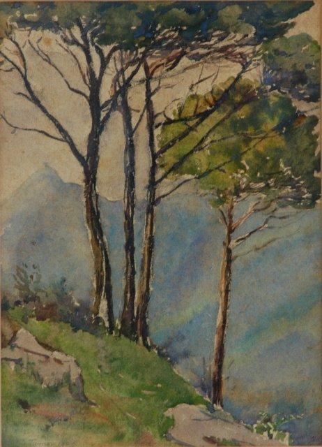 1021: TURNER, E J Mountain View, 1909. W/Clr 27x19cm