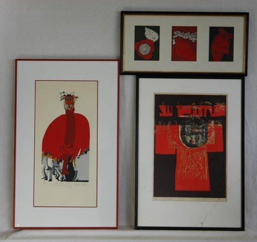 1022: 3 Various Japanese Artist's Editions 'Kimono' s/p