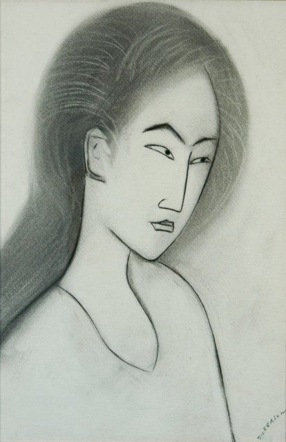 DICKERSON, Robert (b.1924) Japanese Lady Charcoal 56