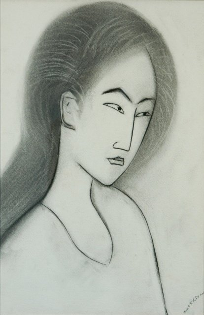 2: DICKERSON, Robert (b.1924) Japanese Lady Charcoal 56