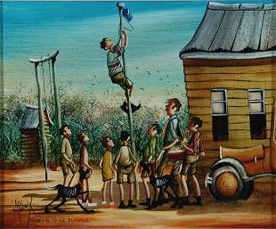 8: MANNIX, Max (b.1939) 'Monkeying Up the Flagpole' Oil