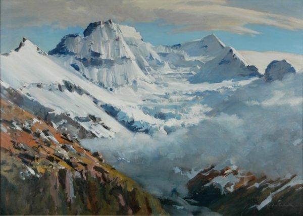 11: BADCOCK, Douglas (b.1922) 'Mt Earnslaw Glacier' Oil
