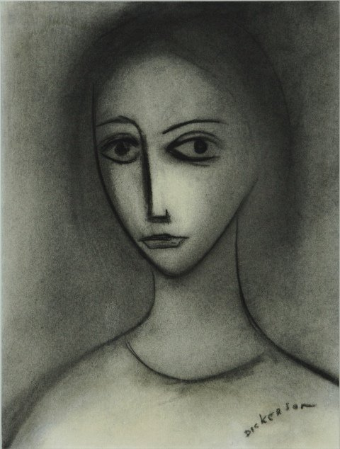 24: DICKERSON, Robert (b.1924) Young Woman Charcoal 28x
