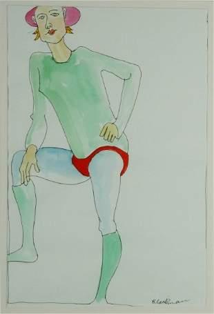 BLACKMAN, Charles (b.1928) Standing Figure. Line wo