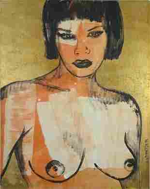 BROMLEY, David (b.1960) Christine Acrylic & Gold Le