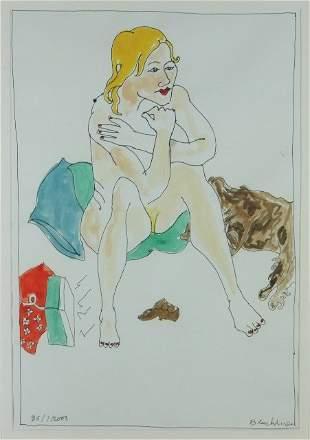 BLACKMAN, Charles (b.1928) Seated Nude & Dog, 2003.