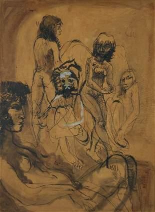 BELL, John (b.1938) Studio Nudes, 1964. Ink & Mixed
