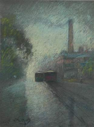 WITHERS, Walter (1854-1914) Melbourne Trams Pastel