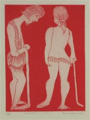 BLACKMAN, Charles (b.1928) 'Hockey Girls' Etching A