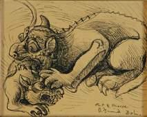 55: FRIEND, Donald (1915-1989) 'Cat & Mouse, Bali.' Ink
