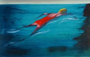 BLACKMAN, Charles (b.1928) 'Swimmer - Calm Ocean.'