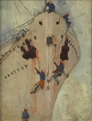 HANKE, Henry (1901-1989) 'Painting the Bow' Oil on