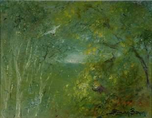 BOYD, David (b.1924) 'Gathering Wattle,' c.1992. Oi