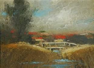 COPES, Dixon (b.1914) Bridge over the Creek Oil on