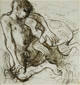 159: FRIEND, Donald (1915-1989) 'Boy & Turtle' Ink on P