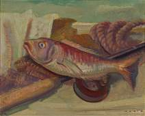 215: MURCH, Arthur (1902-1989) 'Fish & Rope,' 1976. Oil