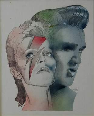 CASTLE, Philip (b.1942) Elvis & Bowie Cover Art Sa