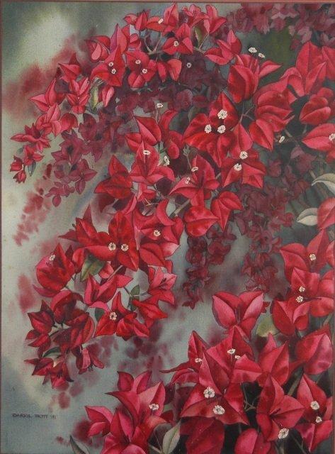 4: TROTT, Darryl Red Leaves & Flowers, 1978. W/Clr 72x5