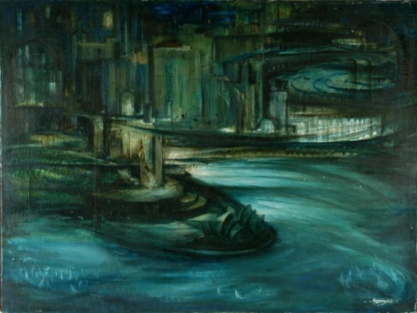 7: PENGLASE, Marjory (b.1922) 'The City, The Sea.' Oil
