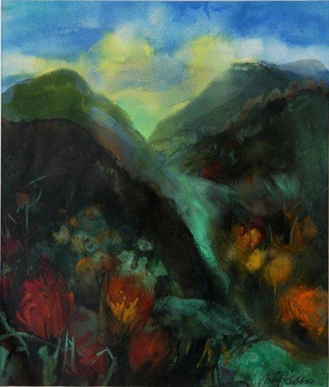 8: KUBBOS, Eva (b.1928) 'Stream in the Hills' Gouache 5