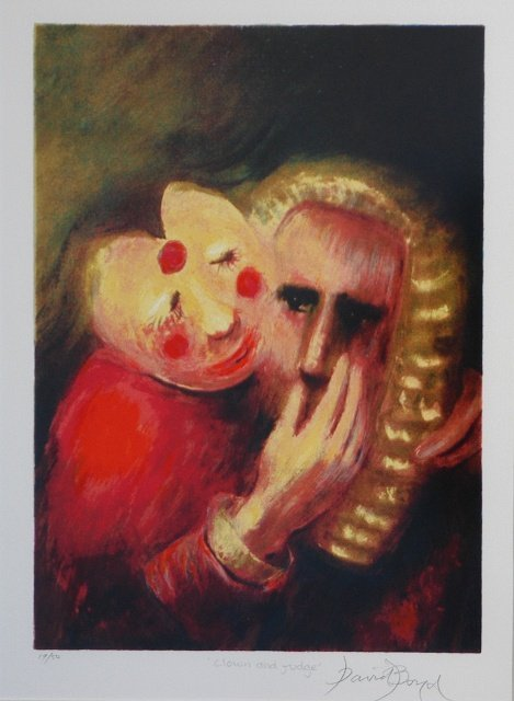 13: BOYD, David (b.1924) 'Clown and Judge' Silkscreen 3