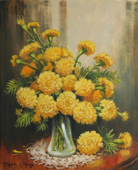 14: COPES, Dixon (b.1914) Yellow Chrysanthemums in Glas