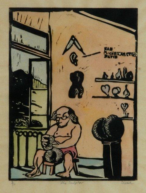 21: SHEAD, Garry (b.1942) 'The Sculptor' Woodcut 7/50 2