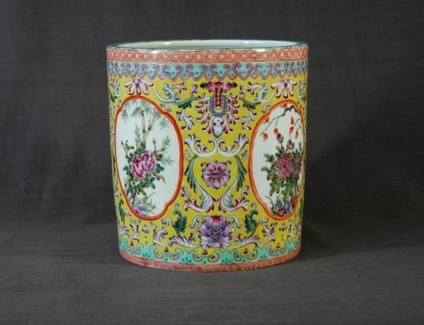 213: Chinese Porcelain Brush Pot.  Famille rose floral