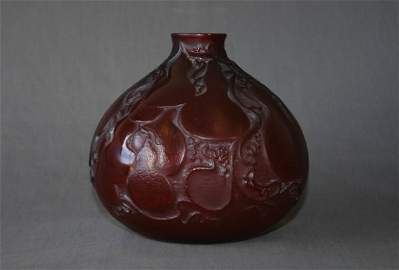 342:  Rene Lalique Deep Red 'Courges' Vase.  c.1914