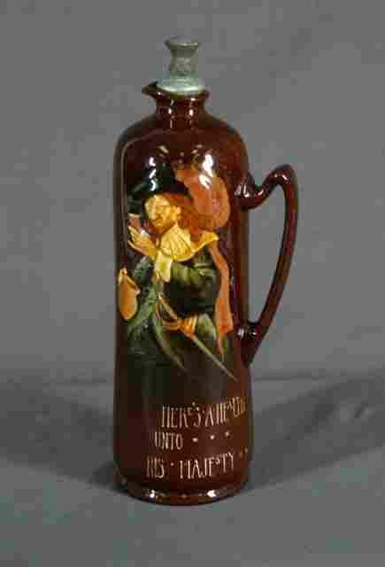 385: Royal Doulton Kingsware Dewar's Whisky Flask. Depi
