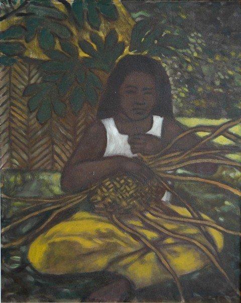 1020: CROOKE, Ray (b.1922). Island Woman Weaving a Bask