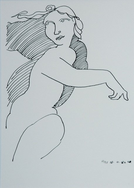 1023: BLACKMAN, Charles (b.1928). Female Figure from 'D