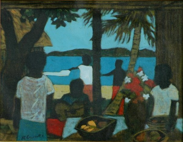 1023A: CROOKE, Ray (b.1922). Island Gathering with Guit