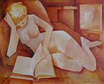 1104: COLEMAN, Bill (1922-1993). 'Nude Reading,' c. 198