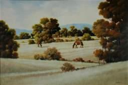 1160: TAYLOR, Michael (b.1950). 'Summer Grazing' Oil o