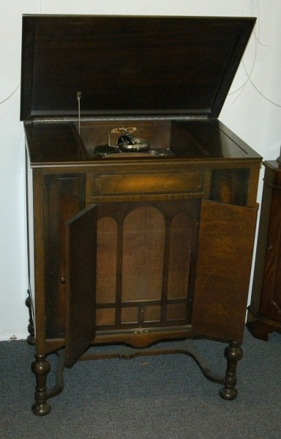 10: 1920's Euphony Console Gramophone.  Dark stained ve
