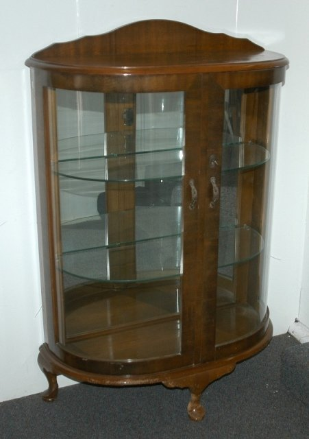 16: 1940's Bow Front China Cabinet.  2 non-adjustable g