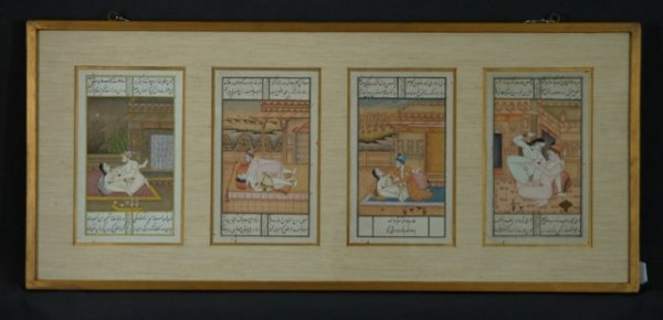 58: Framed Display of 4 Erotic Indian Miniatures.  Goua