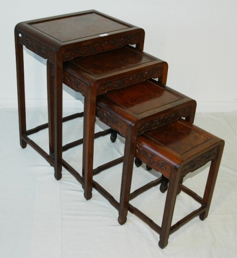 61: Early Set 4 Chinese Elm Nesting Tables.  Carved blo