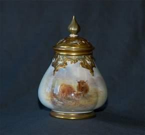 398: H STINTON Royal Worcester Lidded Pot Pourri Jar.