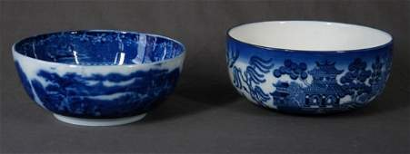 658: 2 c.1900 English Blue & White Bowls. R/Staffordshi