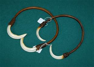 2 New Guinea Tusk & Cane Head Pieces. Collected in