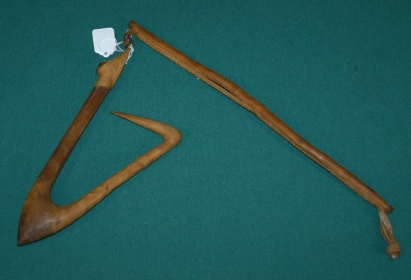 23: New Guinea Carved Wood Hook.  Collected in 1960s, o
