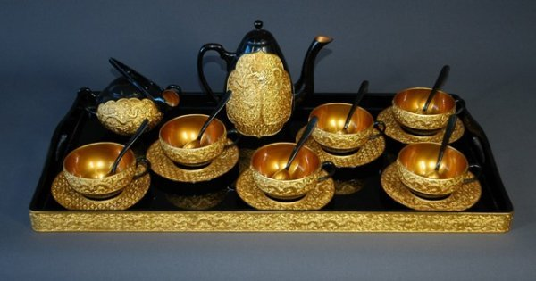 369: Chinese Black/Gold Lacquered Chung-Kuok Tea Set.