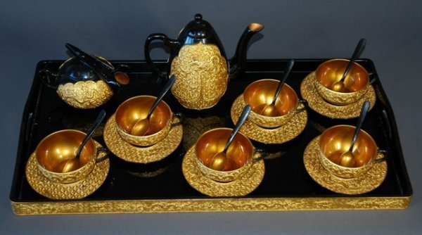 369: Chinese Black/Gold Lacquered Chung-Kuok Tea Set.   - 2