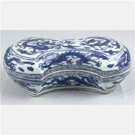 A Imperial Blue and White Ingot-Shaped Box with Cover,